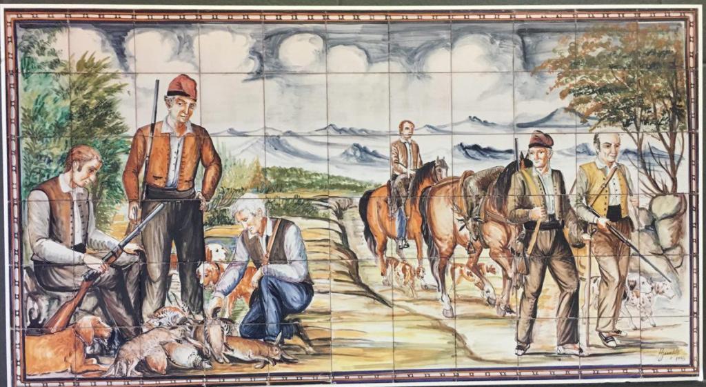 rajola pintada amb escena de caça